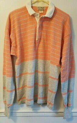 65216b34 Vintage Mens LL Bean Heavy Cotton Striped Rugby Shirt Size Large Peach