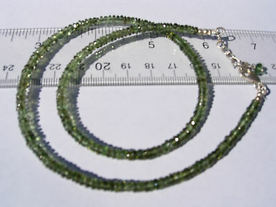 52.6 carats of checkered cut beads 4mm x 1.5mm MOLDAVITE necklace 18 inches