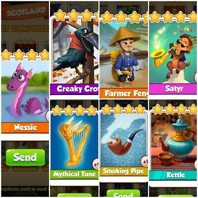 Coin Master Farmer Feng & Kattle & Satyr & Pipe & Tune & Creaky Crow & Nessie