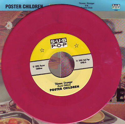 "Poster Children Thinner, Stronger 7"" Sub Pop Singles Club MARBLED PINK vinyl"