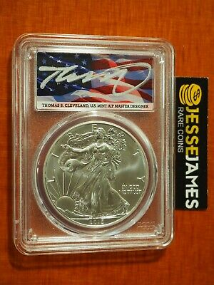 2015 (W) Silver Eagle Pcgs Ms70 Flag Thomas Cleveland First Day Of Issue Fdi
