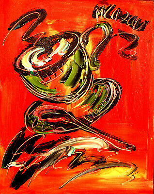 COFFEE CUP Modern Abstract Oil Painting Original Canvas Wall Decor Impressionist