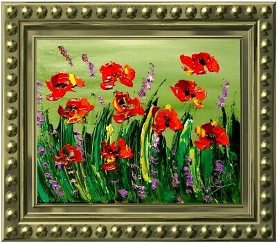 Modern Abstract  Poppies   Oil Painting Original Canvas Wall Decor Impressionist
