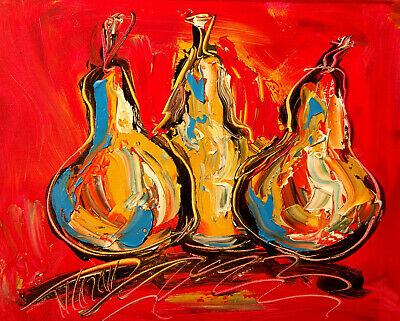 3 PEARS   Modern Abstract Oil Painting Original Canvas Wall Decor Impressionist