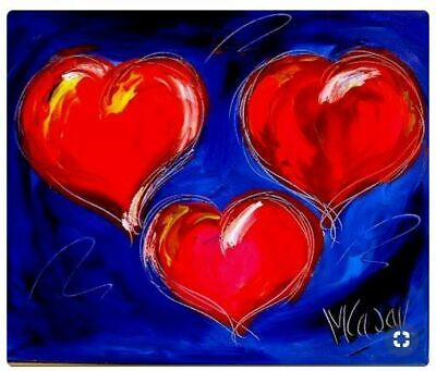 3 HEARTS Modern Abstract Oil Painting Original Canvas Wall Decor Impressionist