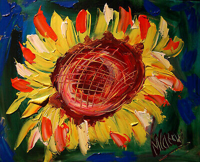 SUNFLOWERS Abstract Oil Painting Original Canvas Wall Decor Impressionist