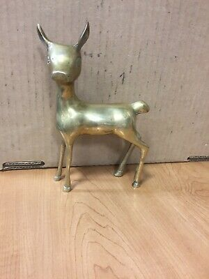 Brass Deer Fawn Doe Animal standing Vintage Collectable Antique