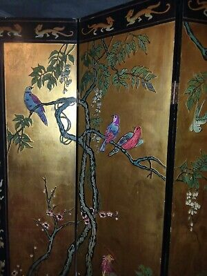 Asian/Oriental Vintage,4 Wood Panel,hand made,painted,carved,gold,Room Divider