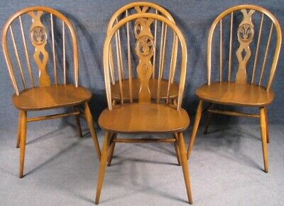 Set Of 4 Ercol Windsor Solid Elm And Beech Kitchen Dining Chairs in Golden Dawn