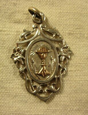 ANCIENNE belle MEDAILLE RELIGIEUSE ARGENT MASSIF,CALICE or (N°8 )ca 1900