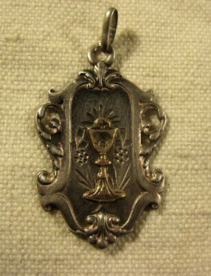 ANCIENNE belle MEDAILLE RELIGIEUSE ARGENT MASSIF, CALICE  or (N°11 ) ca 1900