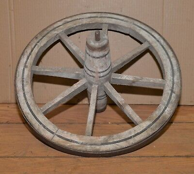 "Antique 19"" wheel barrel front wheel wood & metal with hub collectible garden"