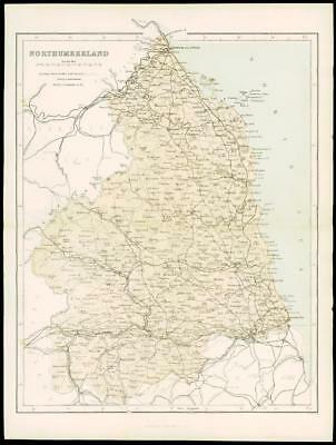 """1865 - Original Antique Map of """"NORTHUMBERLAND"""" by W Hughes (45)"""