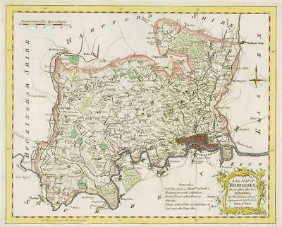 1764 Original Antique Map - MIDDLESEX by Thomas KITCHIN Hand coloured (24)