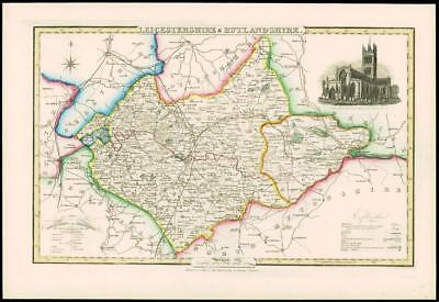 1846 - Original Antique Map of LEICESTERSHIRE & RUTLANDSHIRE by Slater