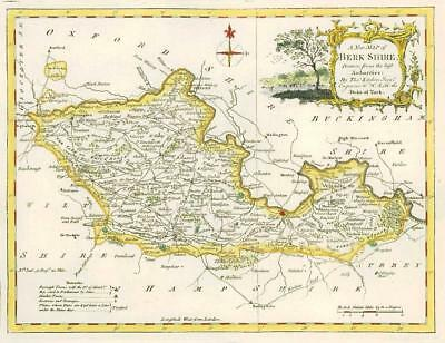 1764 Original Antique Map - BERKSHIRE by Thomas KITCHIN Hand coloured (02)