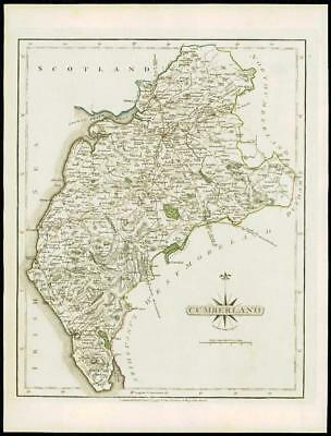 1793 Original Antique MAP of 'CUMBERLAND' by John Cary Outline Colour (08)