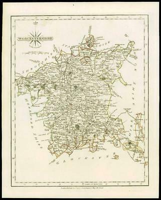 1793 Original Antique MAP of 'WORCESTERSHIRE' by John Cary Outline Colour (42)