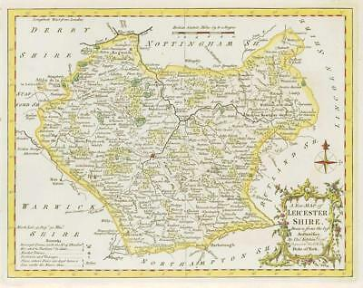 1764 Original Antique Map - LEICESTERSHIRE by Thomas KITCHIN Hand coloured (22)