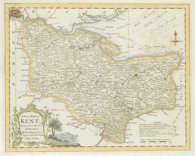 1764 Original Antique Map - KENT by Thomas KITCHIN Hand coloured (20)