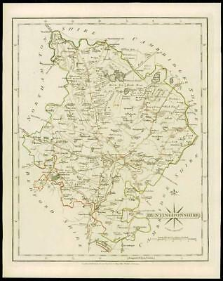 1793 Original Antique MAP of 'HUNTINGDONSHIRE' by John Cary Outline Colour (20)