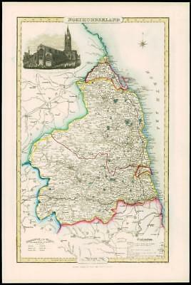 1846 - Antique Map of NORTHUMBERLAND by Slater ST NICHOLAS CHURCH NEWCASTLE
