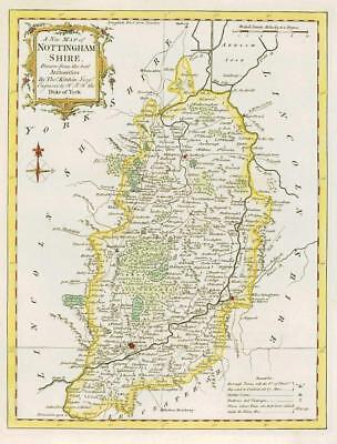 1764 Original Antique Map NOTTINGHAMSHIRE by Thomas KITCHIN Hand coloured (28)