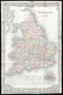 1837 Original Antique MAP - ENGLAND by Thomas Moule Original Colour (59)