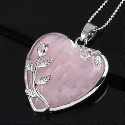 Heart Healing Mineral Chakra Reiki Gemstone Pendant Necklace Womens Jewellery