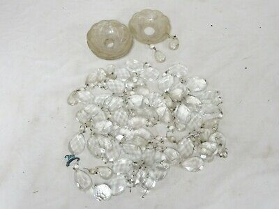 Large Lot Of Chandelier Solid Glass Prizims Tear Drop & Solid Round + Glass Drip