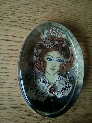 Old hand painted paperweight, lady with lace, embroidery little beads as buttons