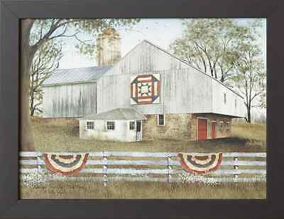 AMERICAN STAR QUILT country barn wall print in wood frame