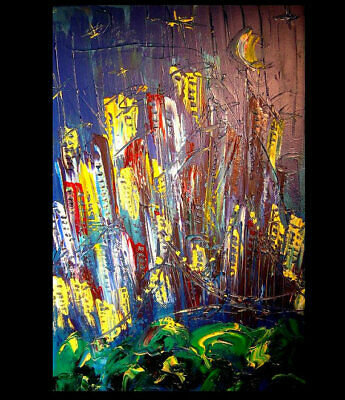 MANHATTAN   Abstract Oil Painting Original Canvas Wall Decor Impressionist