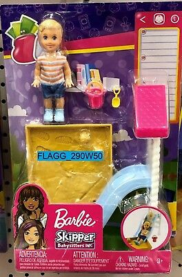 BARBIE Skipper Babysitters INC *BLONDE BOY* Slide Sandbox Playground Baby 2019