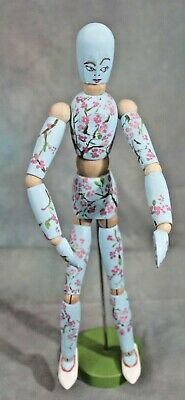 Handpainted Artist Model Wood Mannequin Student Project Plum Blossoms Folk Art