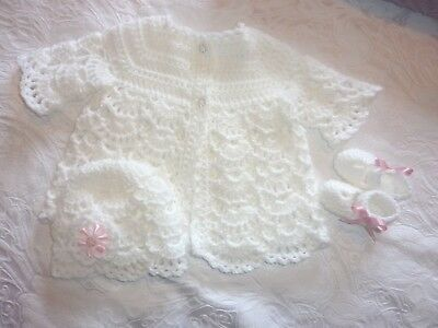 beautiful  white crochet matinee set for 0-3 month or reborn doll new