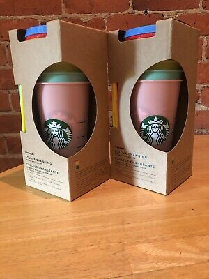 NEW! Starbucks COLOR CHANGING Cold Cup Collection 5 Pack Lid Straw 24oz