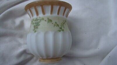 "Antique Hand Painted Frosted Milk Glass Lamp Light Shade Globe 5-1/4"" high"