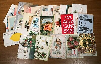 Fifty 50 Antique Vintage NEW YEARS Holiday Postcard PC Collection Lot Nice Cards