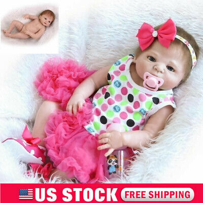 "23"" Reborn Full Body Vinyl Silicone Girl Baby Doll Newborn Preemie Dolls Baby US"