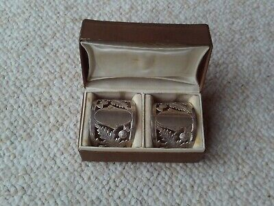 Antique Boxed pair of Solid Silver Thistle pattern napkin rings Birmingham 1916
