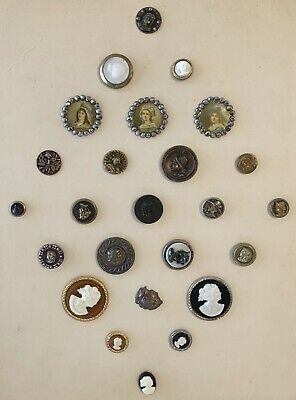 Antique 25 Buttons Cameo Figural Victorian Woman Carved Gold Silver
