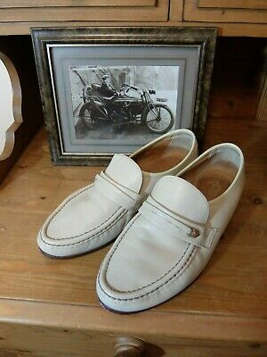 Quality Vintage Shoes Loafers Cream Beige Leather Uk 8 G Re-Enactment Goodwood