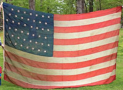Large Antique 19thC Western 44 Star WYOMING Sate, United States Bunting Flag