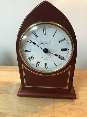 Vintage St James Of London Hirds Hull Wooden Mantle Clock Fully Working