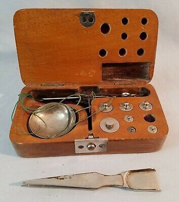 Antique Cased Pocket Gold Traveling Apothecary Scale NO Reserve