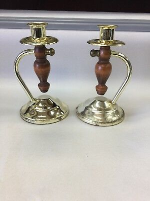 Vintage Two Metal & Wood Home Interiors Table/Wall Candle Holders craft project
