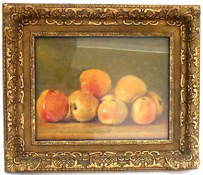 Vintage Original Apples Still Life Canvas Oil Painting In Frame - E09