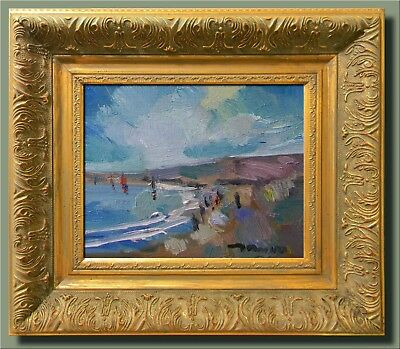 JOSE TRUJILLO MODERN Abstract FRAMED Oil Painting Impressionist Beach Shore Sky