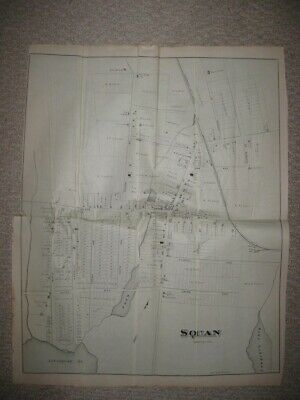 RARE LARGE ANTIQUE 1878 SQUAN now MANASQUAN NEW JERSEY MAP DETAILED SUPERB FINE